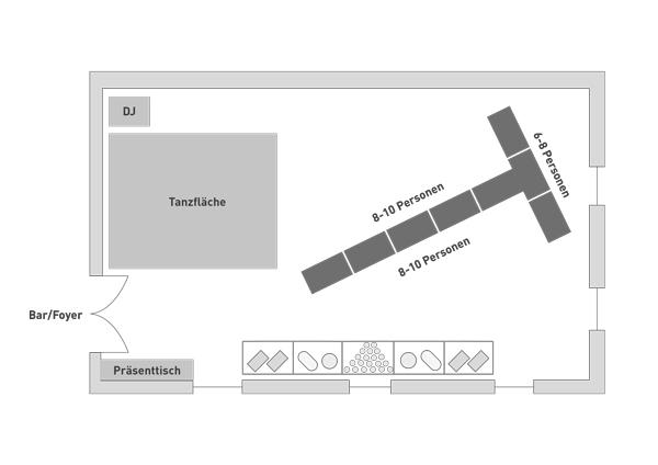 Bestuhlung Knappensaal Schloss Burgk T-Form Hochzeit Event Location