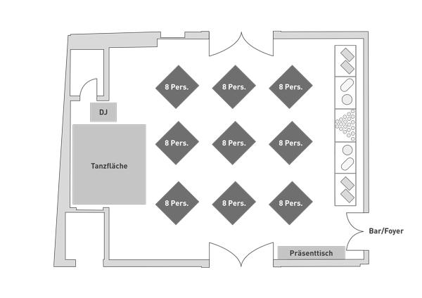 Bestuhlung Steigersaal Schloss Burgk Bankett Hochzeit Event Location