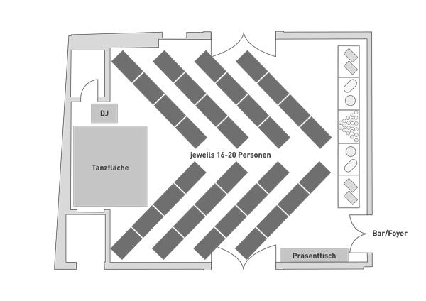 Bestuhlung Steigersaal Schloss Burgk Fischgräte Hochzeit Event Location