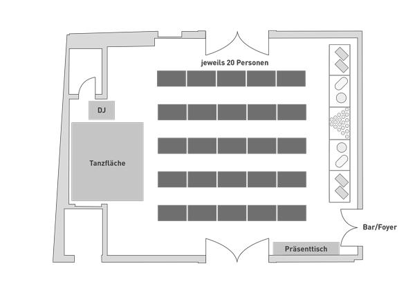 Bestuhlung Steigersaal Schloss Burgk Tafel Hochzeit Event Location