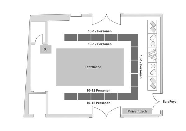 Bestuhlung Steigersaal Schloss Burgk U-Form Hochzeit Event Location